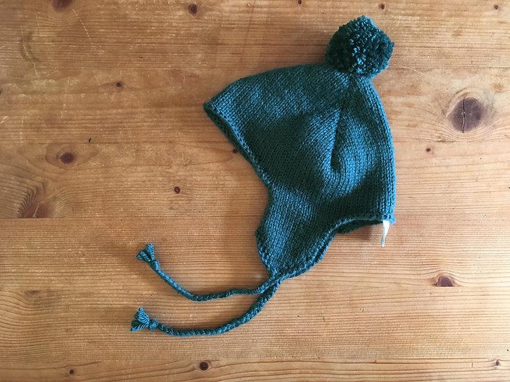 Bonnet tricoté main   Vert bouteille