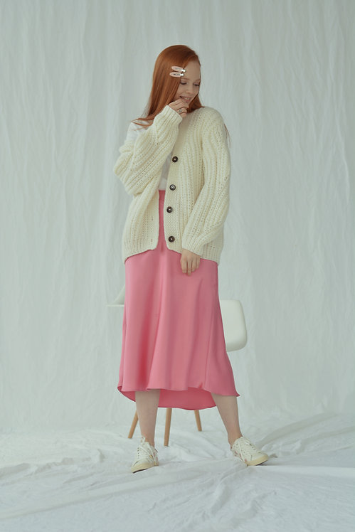 Ribbed-knit cardigan - ivory