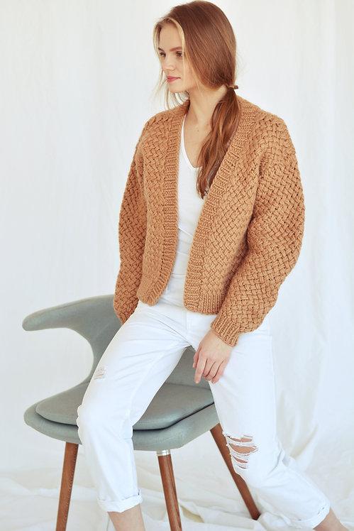 Chunky pure wool cardigan-camel