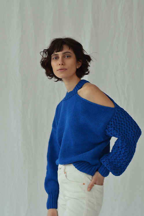 Asymmetric sweater - blue