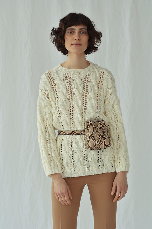 Oversized cable-knit sweater - ivory