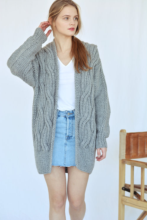 Cable knit cardigan - grey