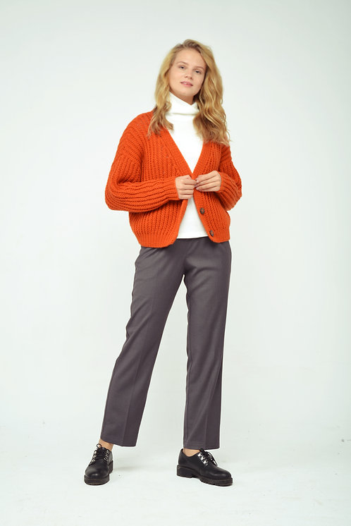 Ribbed cardigan - terracot
