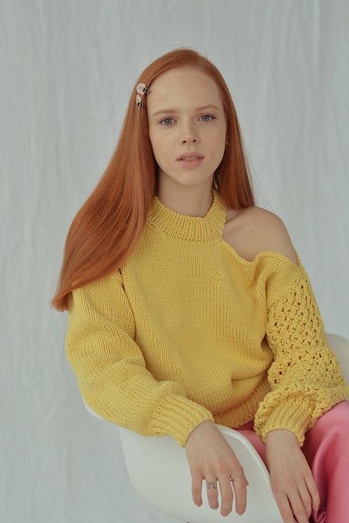 Асимметричный свитер лимонный