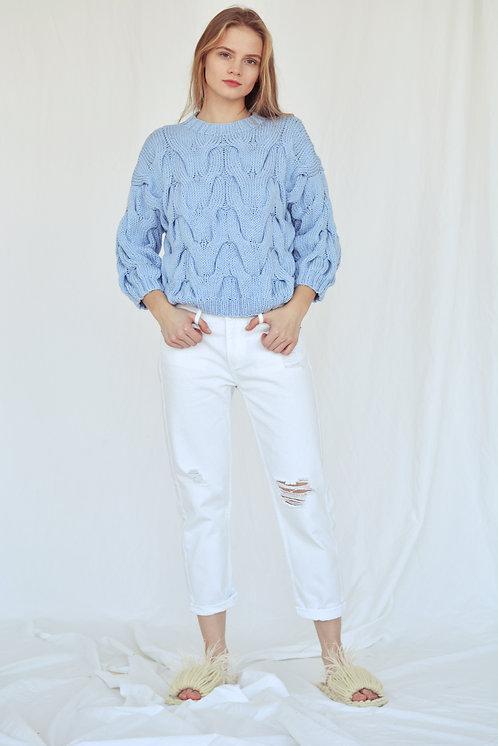 Пуловер с рукавом 3/4 голубой