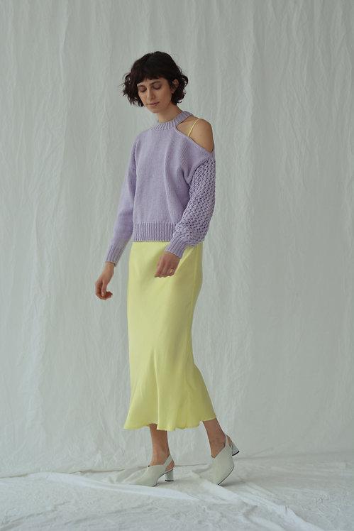Асимметричный свитер лиловый