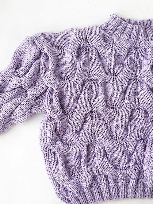 Пуловер с рукавом 3/4 лиловый