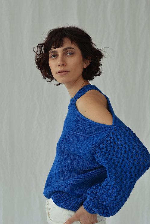 Асимметричный свитер синий