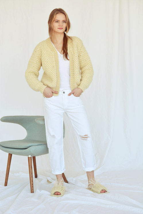Chunky pure wool cardigan-cream