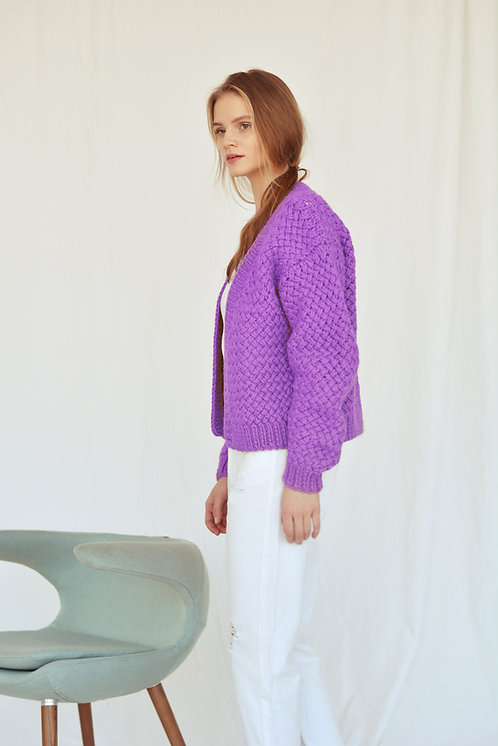 Chunky pure wool cardigan-violet