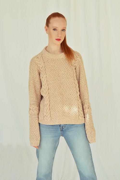 Cotton tweed sweater-beige