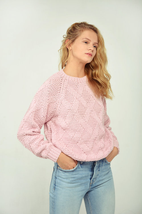 Rhombus sweater - baby pink