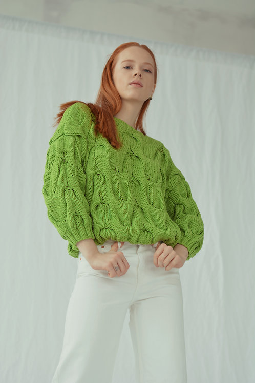 Пуловер с рукавом 3/4 травяной