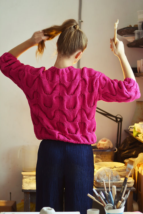 Short sleeve sweater - magenta