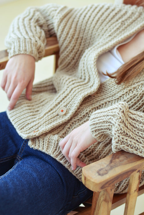 Ribbed cardigan - beige