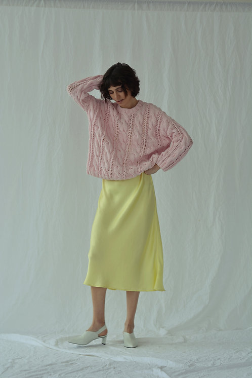 Oversized cable-knit sweater - baby pink