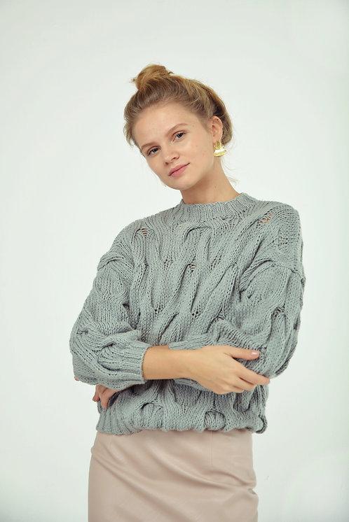 Пуловер с рукавом 3/4 серый