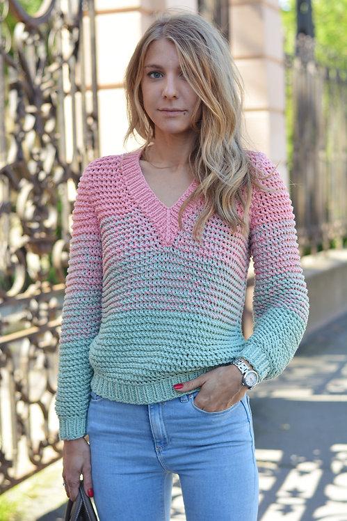 Градиентный свитер с V-образным вырезом мята
