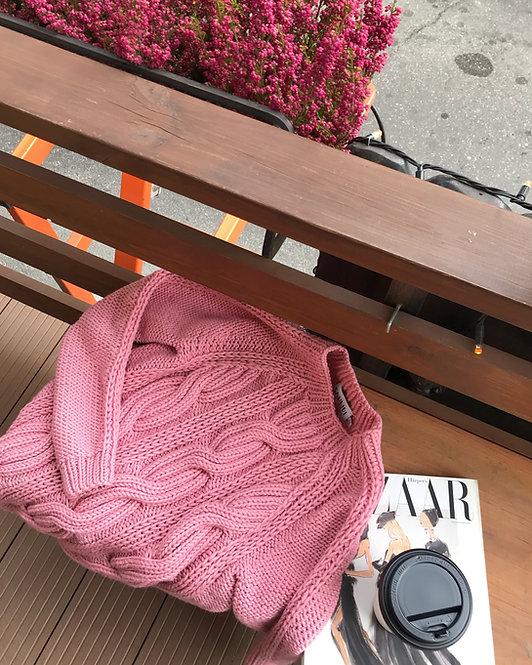 Свитер с рукавом-реглан розовый