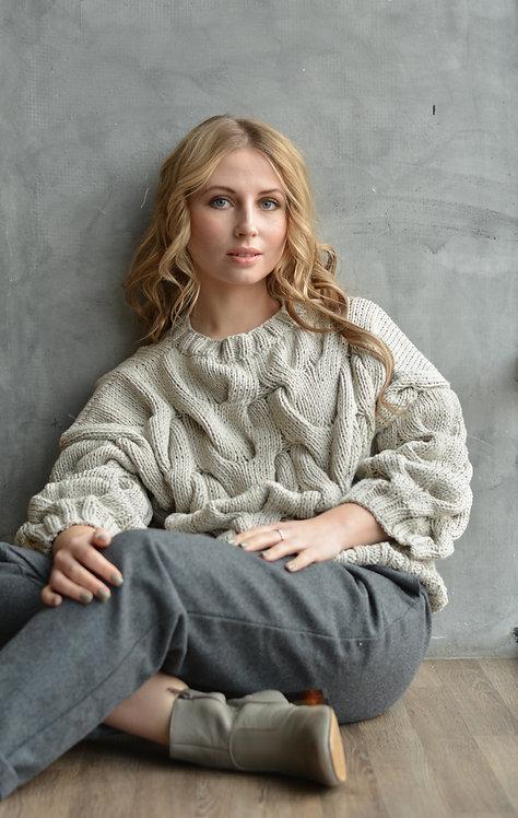 Пуловер с рукавом 3/4 беж