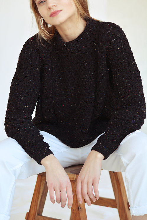 Cotton tweed sweater-black