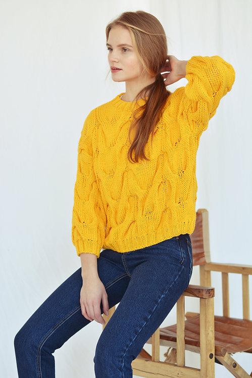 Хлопковый пуловер с рукавом 3/4 желтый