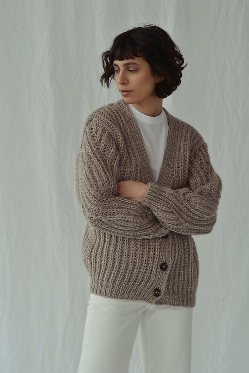 Ribbed-knit cardigan - beige