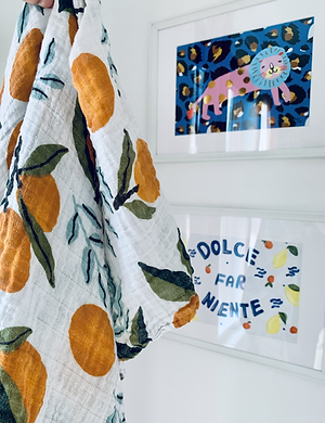Orange Grove Muslin Swaddle Blanket