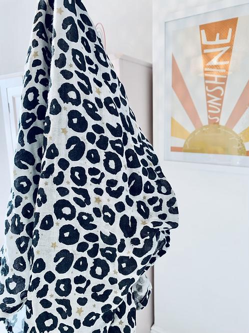 Leopard Print Muslin Swaddle Blanket