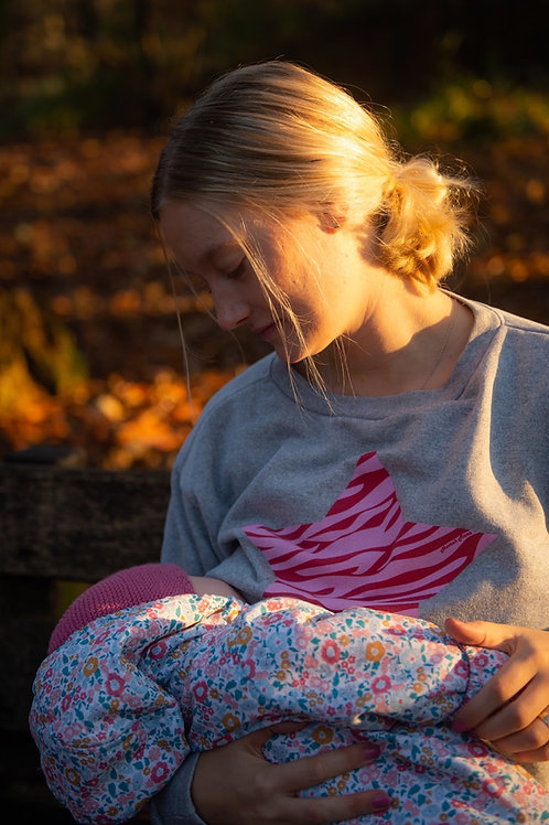 BREASTFEEDING SWEATSHIRT Pink Zebra Star