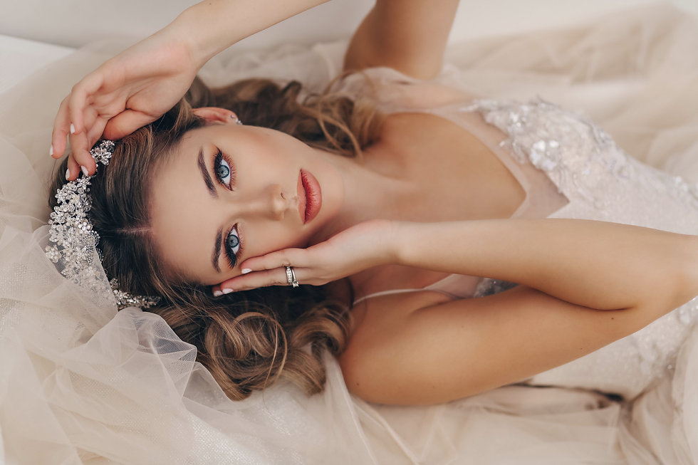 fashion portrait of beautiful bride with