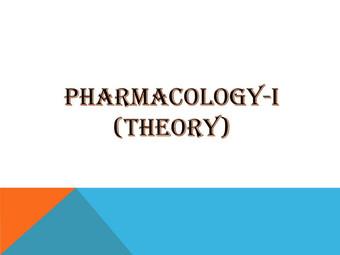 PHARMACOLOGY-I (Theory)