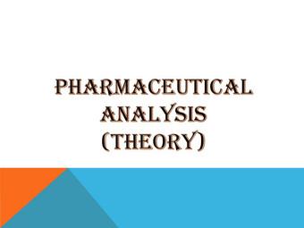 PHARMACEUTICAL ANALYSIS (Theory)