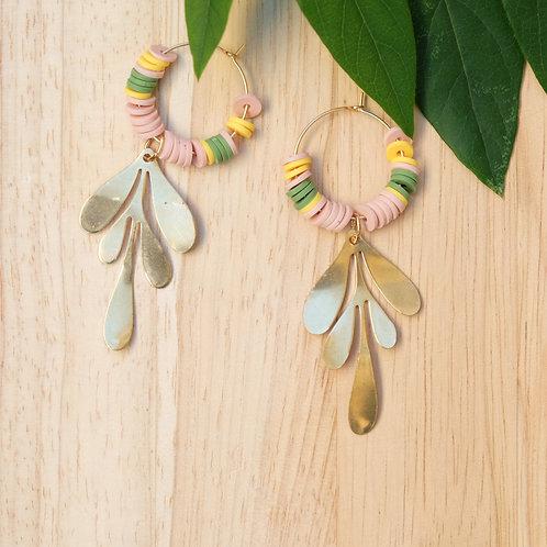 Boucles d'oreilles Feuille / rose - vert