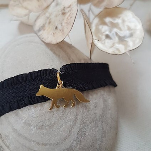 Bracelet Renard - élastique noir