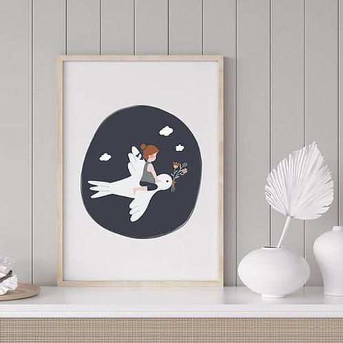 Affiche - L'enfant et l'hirondelle - bleu marine