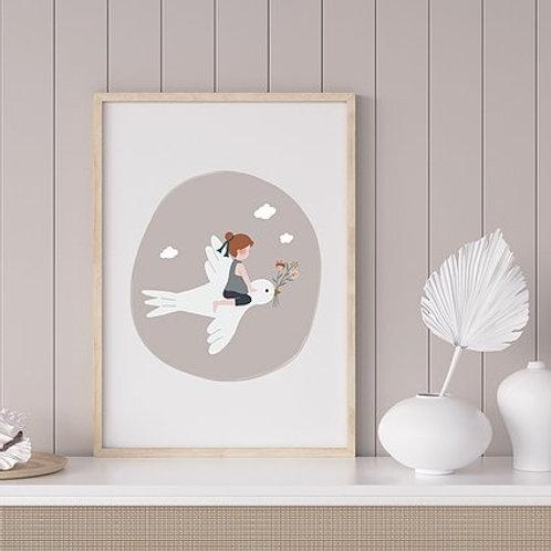 Affiche - L'enfant et l'hirondelle - gris rosé