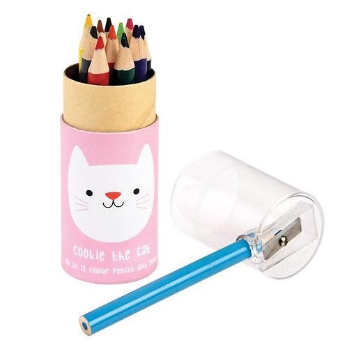 Crayons de couleur Chat rose