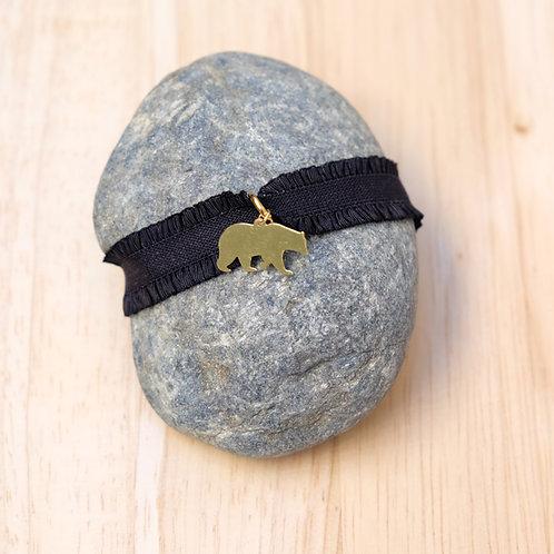 Bracelet Ours - élastique noir
