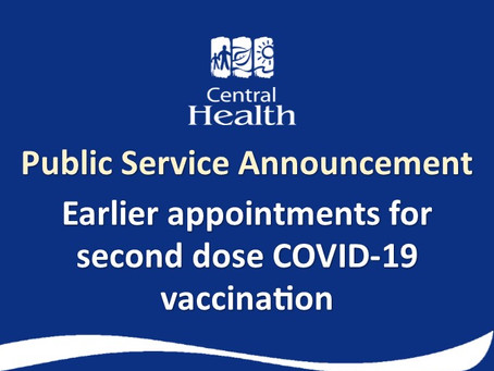 Earlier Appointments for Second Dose COVID-19 Vaccination