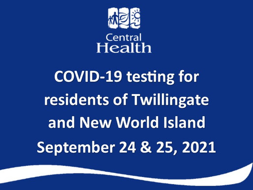 COVID testing for residents of New World Island and Twillingate Area Friday to Sunday