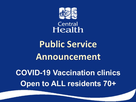 COVID-19 Vaccination Clinics Open to ALL Residents Ages 70 and over