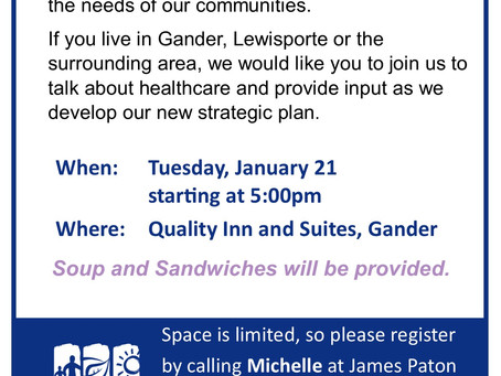 Community Engagement Session taking place in Gander, January 21, 2020.