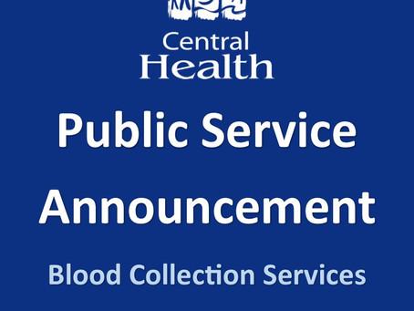 Public Service Announcement regarding Outpatient Blood Collection Services