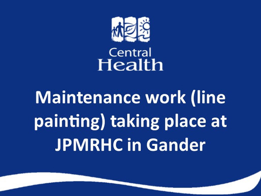 Line painting at the front parking lot at James Paton Memorial Regional Health Centre (JPMRHC)