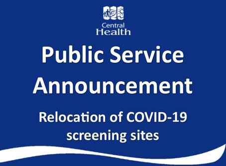 COVID-19 screening sites relocating to Central Health facilities
