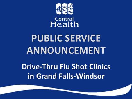 Drive-Thru Flu Shot Clinic to be held in Grand Falls-Windsor
