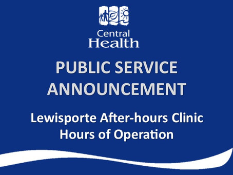 Lewisporte After-hours Clinic – hours of operation