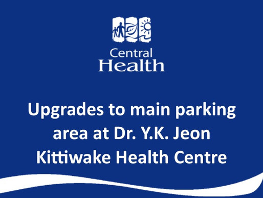 Construction in the main parking area at Dr. Y.K. Jeon Kittiwake Health Centre in New-Wes-Valley.