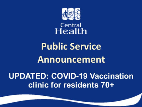 UPDATE: COVID-19 immunization clinics for residents 70+
